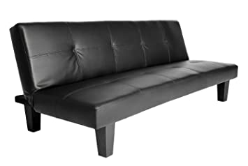 Click Clack Sofa Bed Black Faux Leather 2 - 3 Seater Modern Settee Double  Couch Space-saving Design Sleeper Living Room Office Furniture Sienna