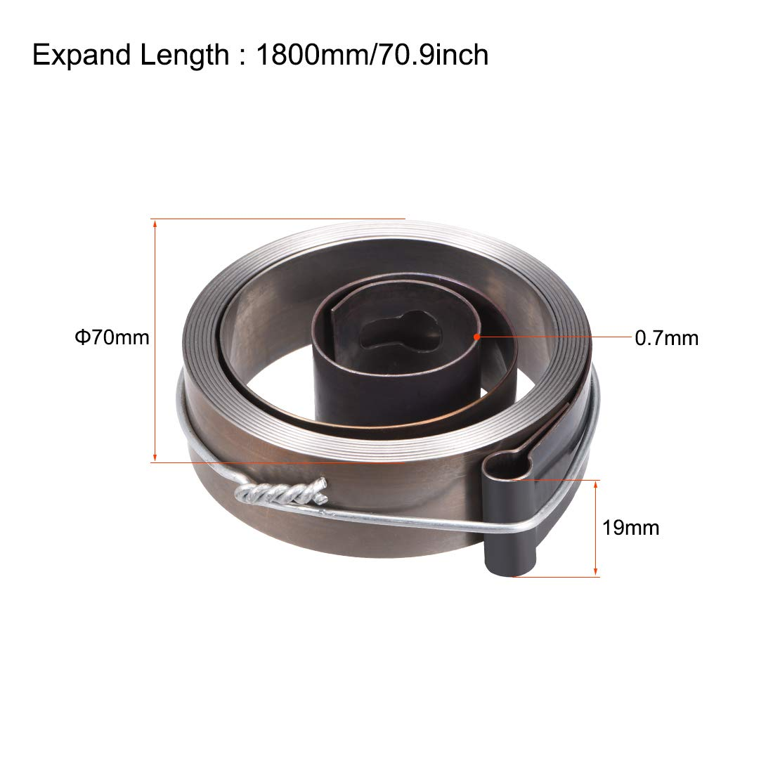 sourcing map Drill Press Spring Drill Press Quill Feed Return Coil Spring Assembly Spring Steel Chemical Blackening Finish 1540mm Expand Long 49 x 12 x 0.7mm