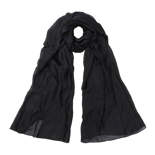 5fda7401d7b70 Premium Large Silky Plain Satin Oblong Scarf Wrap, Black at Amazon ...