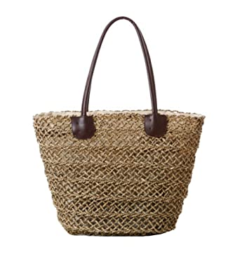 Tonwhar® Sea Grass Hollow Woven Tote Bag Straw Beach Bag with ...