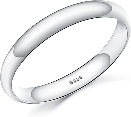 New Heavy Weight 925 Sterling Silver D Shape Wedding Engagement Band Rings