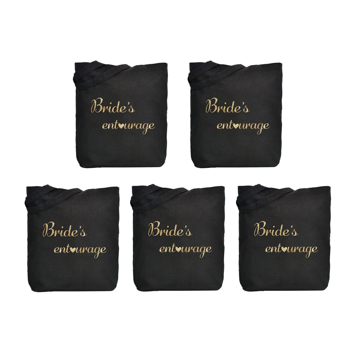 ElegantPark Bride's Entourage Tote Bag Wedding Gifts Black Cotton Gold Script 5 Pcs