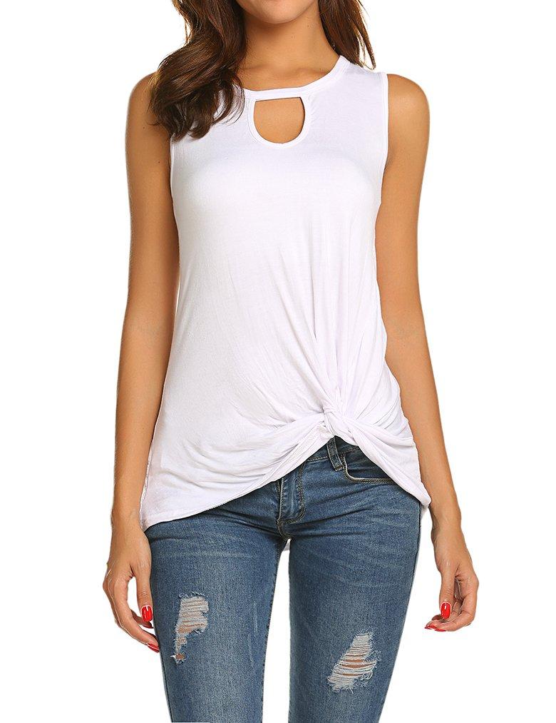 Tobrief Women's Summer Sleeveless Shirt Blouse Front Knot Tank Top