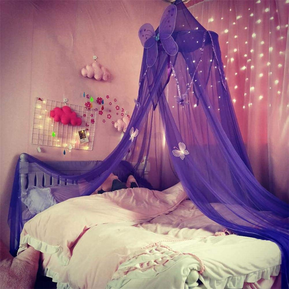 Ntribut Children Room Blue Stars Mosquito Net Bed Canopy Round Dome Baby Bed Decoration Hanging Curtain Play Reading Tent