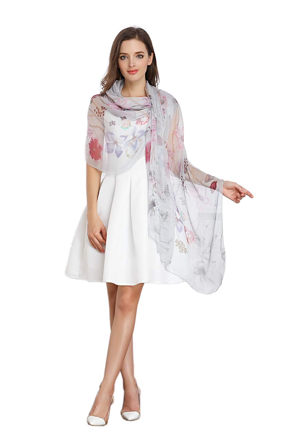 Women Fashion Silk Scarf Oblong Floral Oversize Soft Shawl Beach Wrap (Lightgrey)