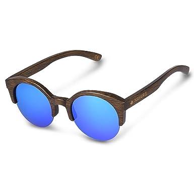 e560e89511 Navaris Fashionable UV400 Wooden Sunglasses - Unisex Retro Wooden Half  Rimmed Glasses Wood Shades Women Men