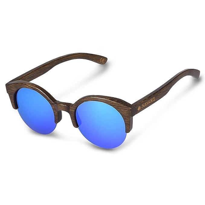 74c744ed87 Navaris Gafas de sol UV400 Lentes de madera de bambú y funda dura - Gafas  unisex - Moldura marrón oscuro y cristal azul: Amazon.es: Ropa y accesorios