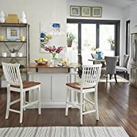 Cool Americana White And Distressed Oak Kitchen Island And Stools By Home Styles Pdpeps Interior Chair Design Pdpepsorg