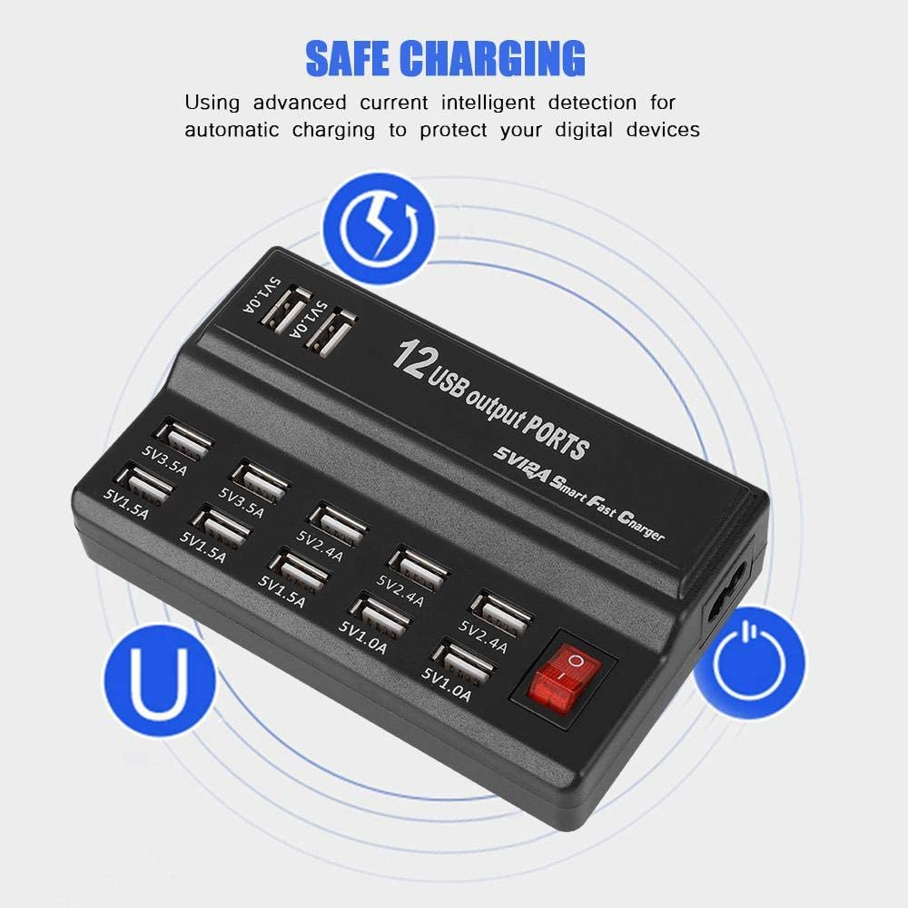 US Neufday-12 Ports USB Hub 5V 10A Power Adapter Charging Station Adapter Charger Home Travel