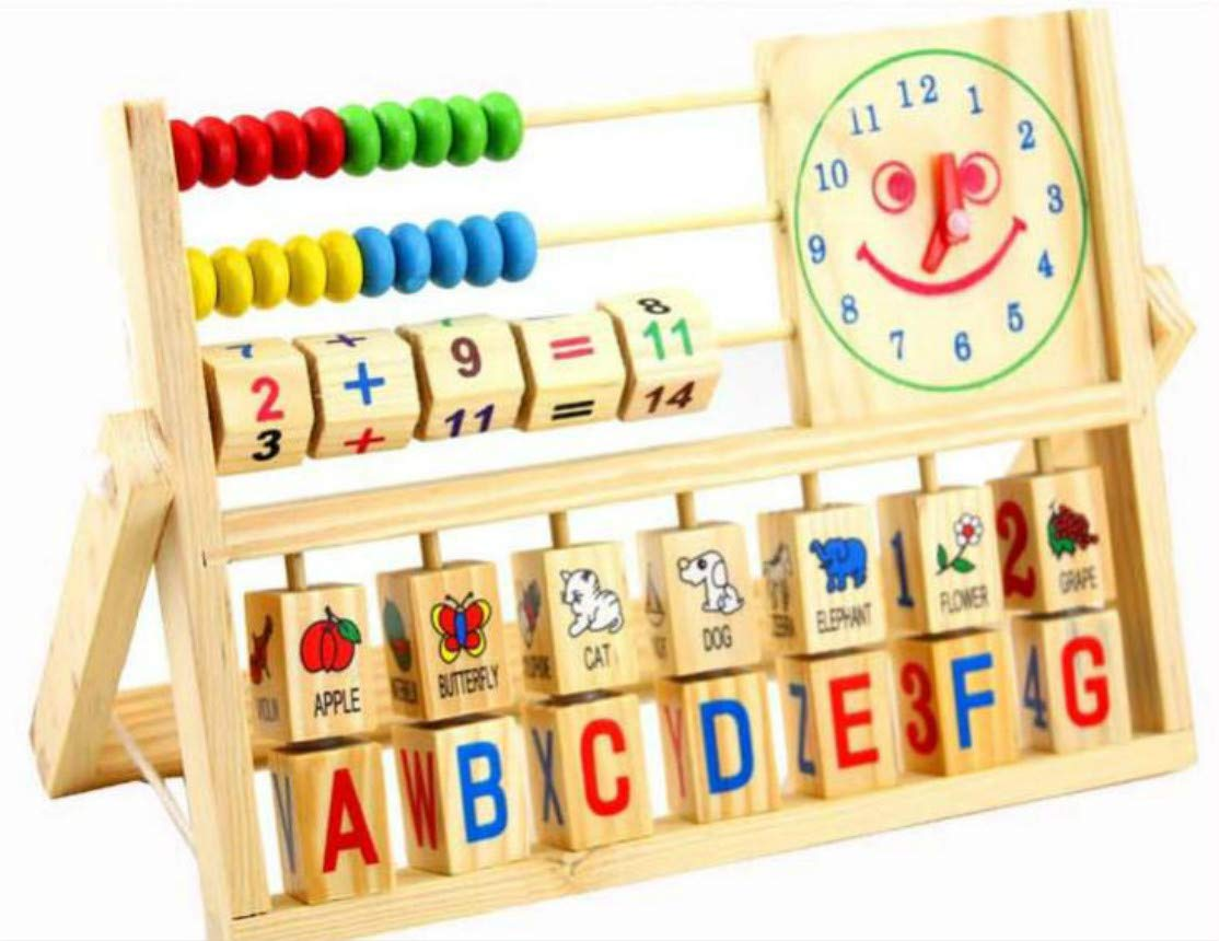 DANNI Wood Educational Multi-Function Smile Clock Computing Frame Toys, Kids Wooden Carly Childhood Teaching AIDS Toys