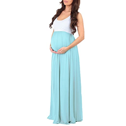 OwlFay Women Sleeveless Ruched Color Block Maternity Maxi Dress Formal Casual Pageant Long Gown Photography Pregnancy Dresses at Amazon Womens Clothing ...