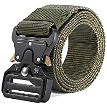Teemzone Military Men Belt Tactical Nylon Web Riggers with Quick-release Metal Buckle