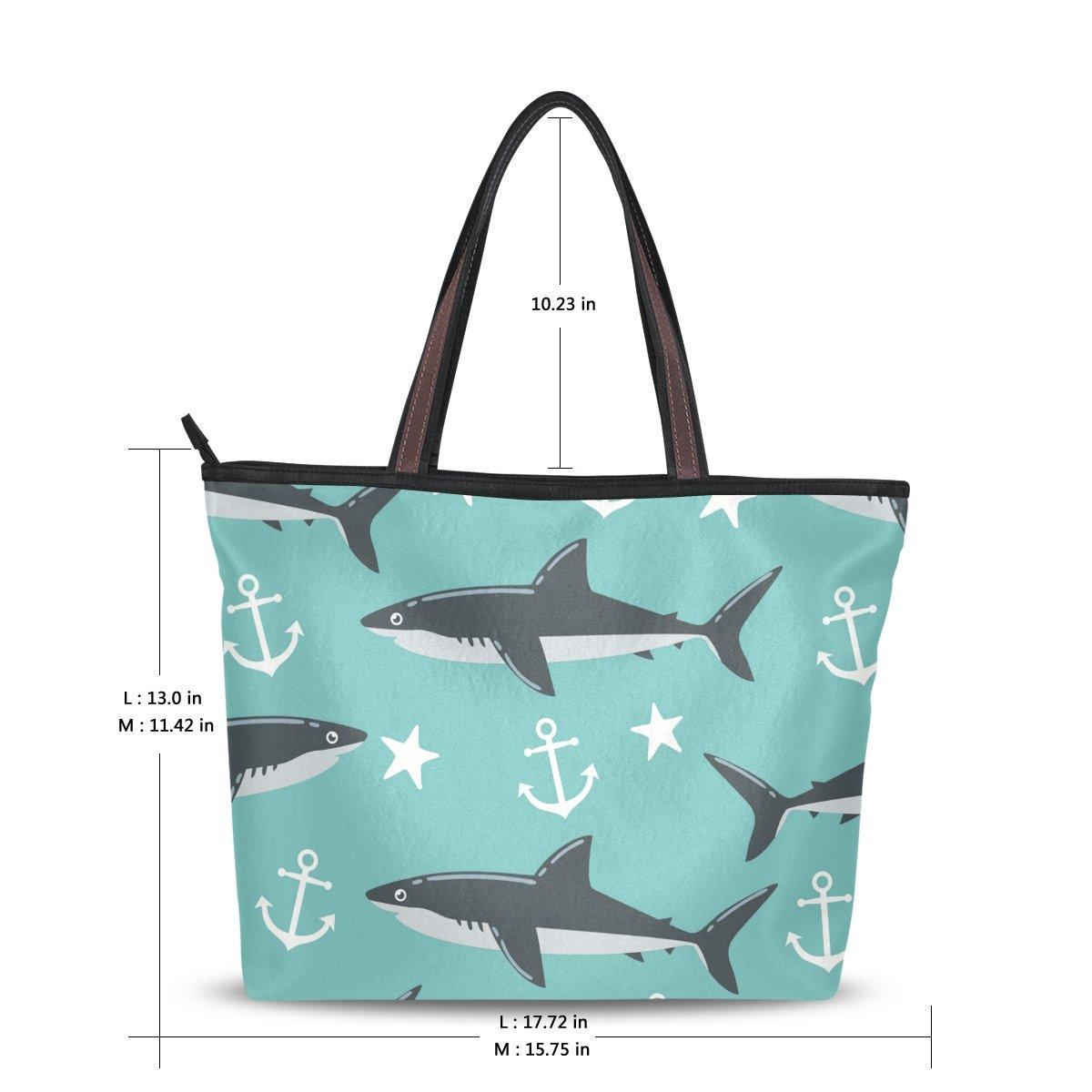 b14aa0856c Amazon.com  Large Beach Travel Tote Bag Shark Anchor Star Printed handbags  with Handle Top Zipper Closure  Clothing