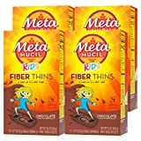 Metamucil Kids Fiber Thins, Chocolate Flavored Dietary Fiber Supplement Snack with Psyllium Husk, 12 Servings (Pack of 4)