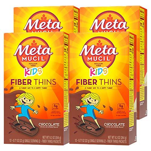 Metamucil Kids Chocolate Flavored Fiber Thins Dietary Fiber Supplement with Psyllium Husk, 12 Servings (Pack of 4)