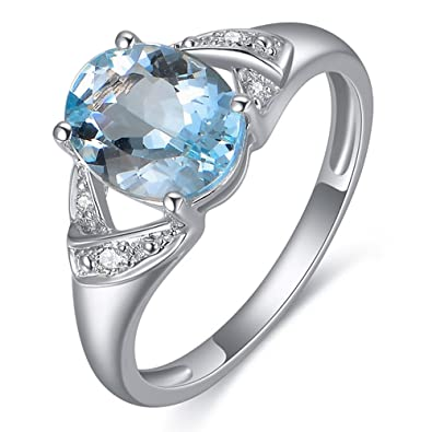 bague diamant et pierre bleu
