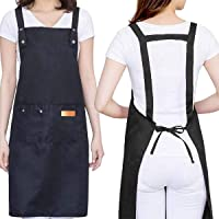 H Style Cotton Apron with 2 Pockets for Kitchen Cooking Baking, Adjustable Waterproof Apron for Chef, Hairstylist…