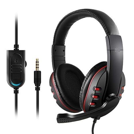 JAMSWALL Gaming Headset 3.5mm Wired Over-Head Cuffie Stereo con Microfono  Microfono Controllo Volume 25b616e22906