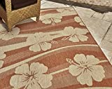 Gertmenian 21266 Nautical Tropical Rug Outdoor Patio Carpet, 5x7 Standard, Hibiscus 3-D