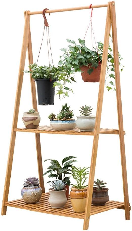 HUYYA Flores estantes Macetas Estanteria, Soporte de bambú de la planta de la escalera de madera 1/2 capa plegable de la maceta Exhibidor de la estante de la lona, 2 Layer: Amazon.es: