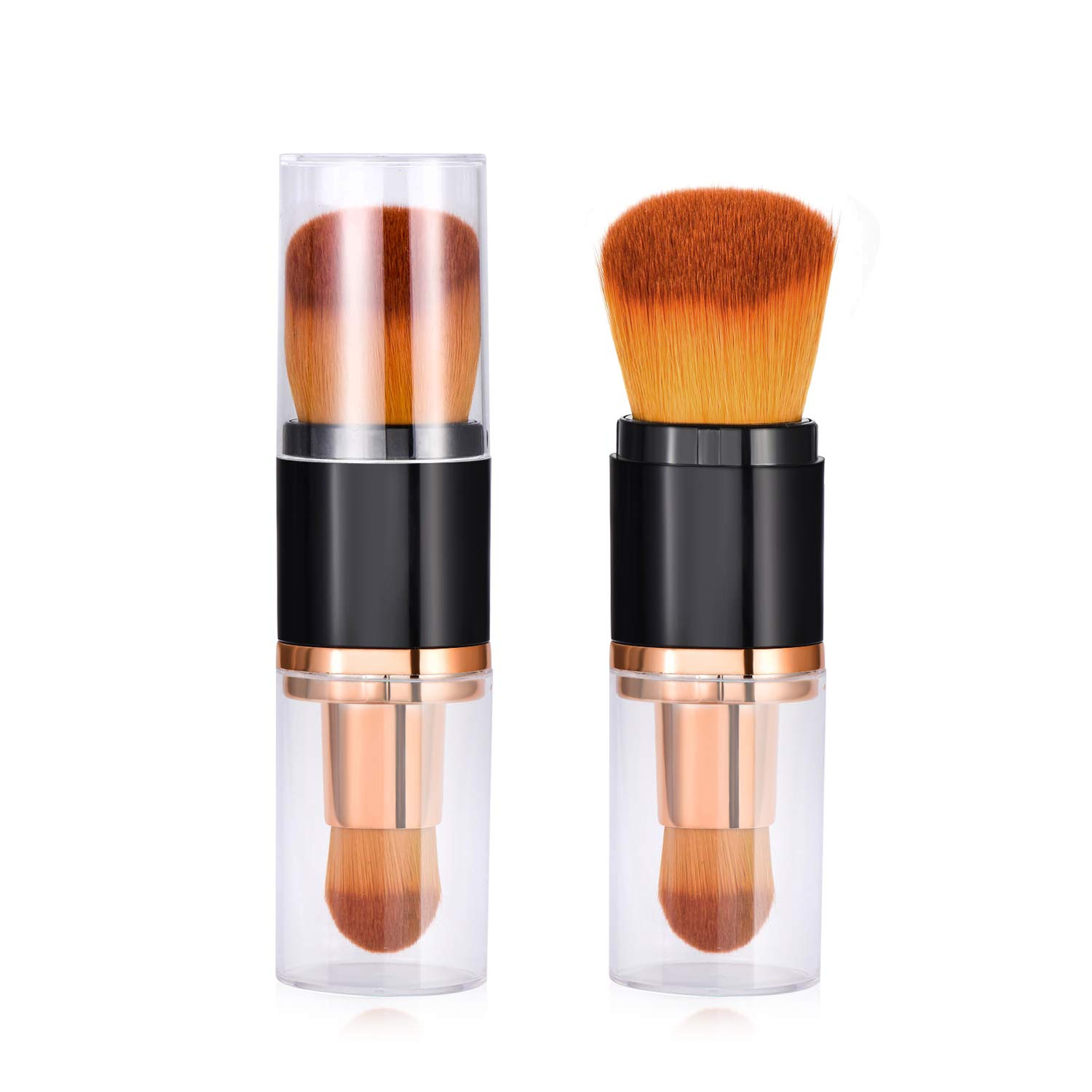 Dual Ended Oval Makeup Brush - Premium Foundation Brushes, Kabuki Brushes, Blush Brushes, Contour Brushes, Blending Brushes, Face Brushes for Blending Liquid, Cream or Flawless Powder Cosmetics