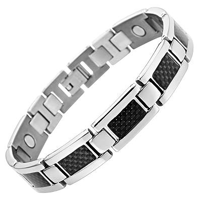 2f2fde26ce5 Willis Judd Nouveauté   Bracelet Aimanté Homme en Titane et Incrustations  de Fibre Carbone Noire