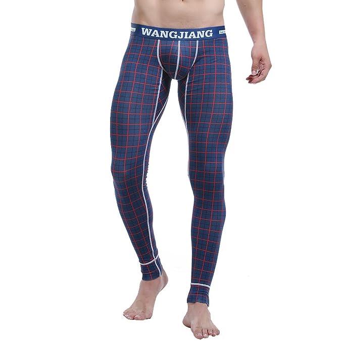 Kingsfun Compresión Leggings Polainas Apretadas Larga Deportes Pantalones para Hombre (Dark Blue Grid, XL