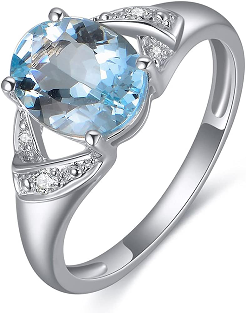 Kardy Sólido 14K Oro blanco Naturales Cielo Azul Aguamarina Piedra preciosa Diamante Compromiso Anillo para Mujer