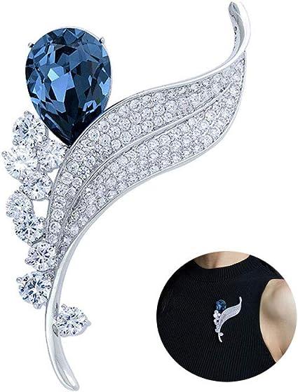 MLSJM La Feuille De Femmes Cristal Pin Épingle, De Haut De