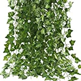 Artificial Hanging Plant GTidea 84 Feet Silk English Ivy Vine Garland Arrangement Faux Fake Flower Green Leaves Wreath Home Kitchen Garden Office Wedding Wall Banister Cosplay Costume Decor Pack of 12