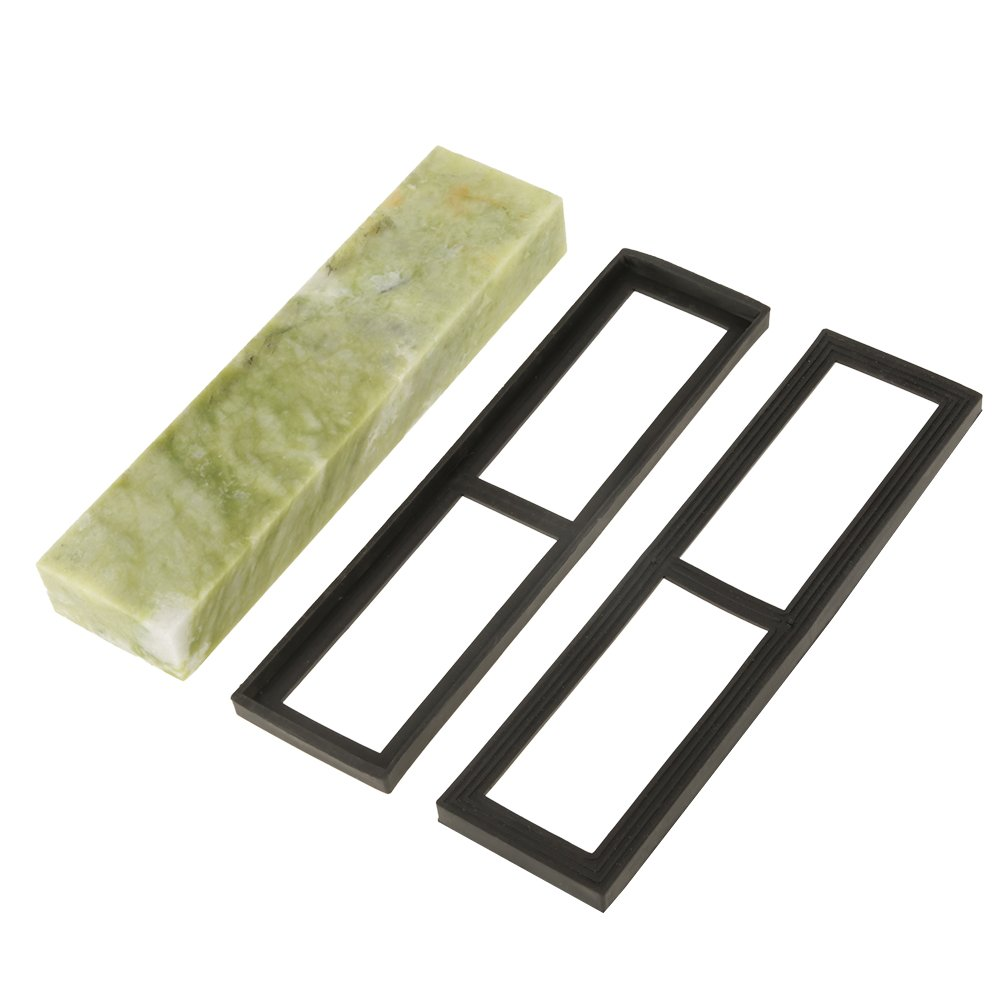 2005025mm(10000 Grit Fine) Natural Emerald Knife Sharpening Stone, Whetstone with Draining Base, Excellent Polishing Tool