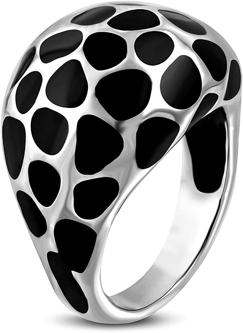 Stainless Steel 2 Color Black Enameled Stone-Style Biker Dome Ring