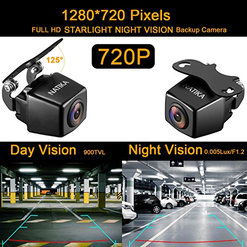 NATIKA 720P Backup/Front/Side View Camera, IP69K Waterproof Starlight Night Vision 1280×720 Pixels High Definition Super Wide Angle Reverse Rear View Backup Camera Cars Jeep Trucks SUV RV Van