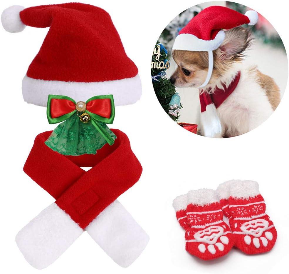 bufanda ajustable lindo gorro de Pap/á Noel collares y calcetines para gatos regalo dulce perros peque/ños nuoshen Juego de 7 disfraces de Navidad con dise/ño de gato rojo