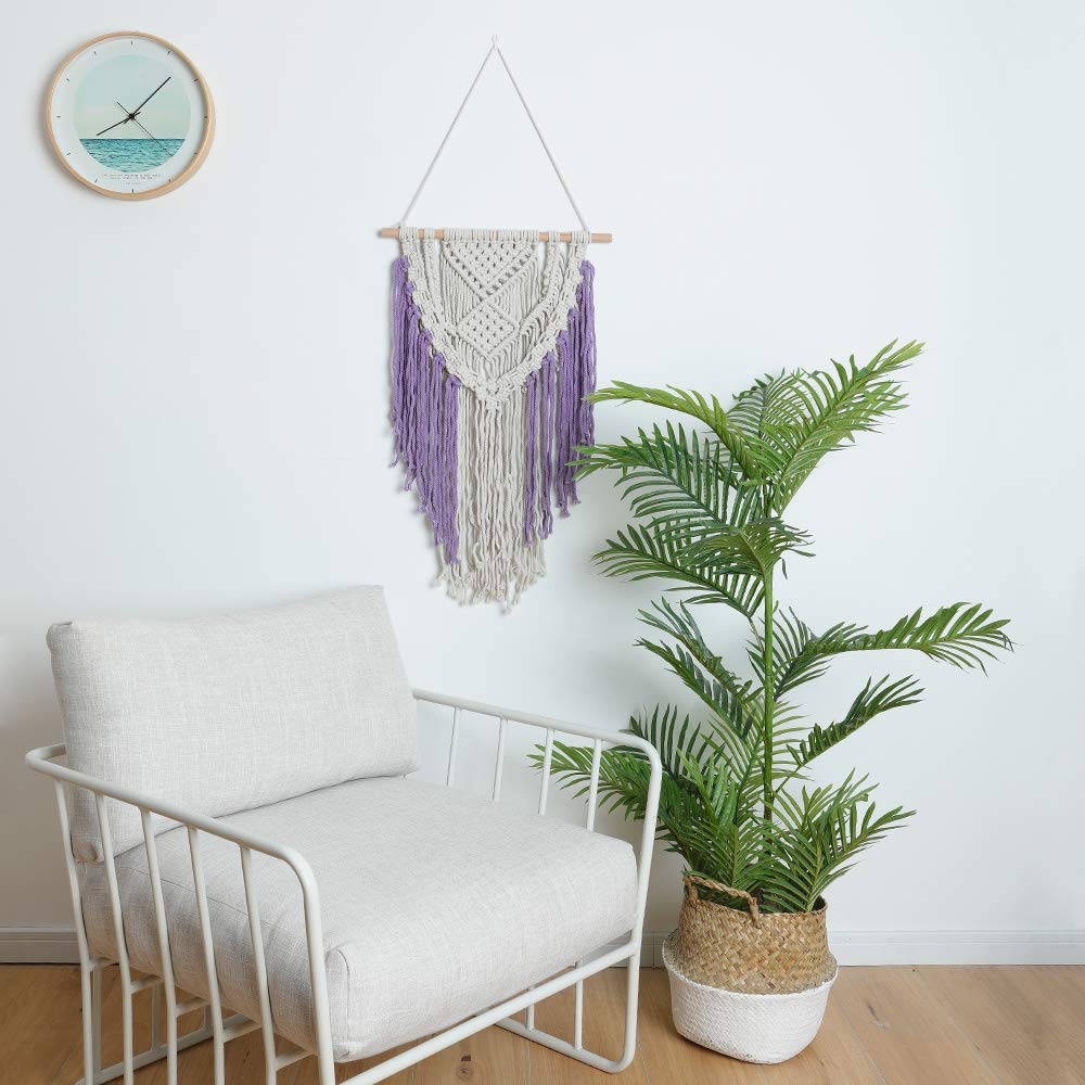 Sonwolf Macrame Wall Hanging for Wall Decor Woven Wall Boho Decor Dorm Wall Art Macrame Wall Hanger (Pattern 7)