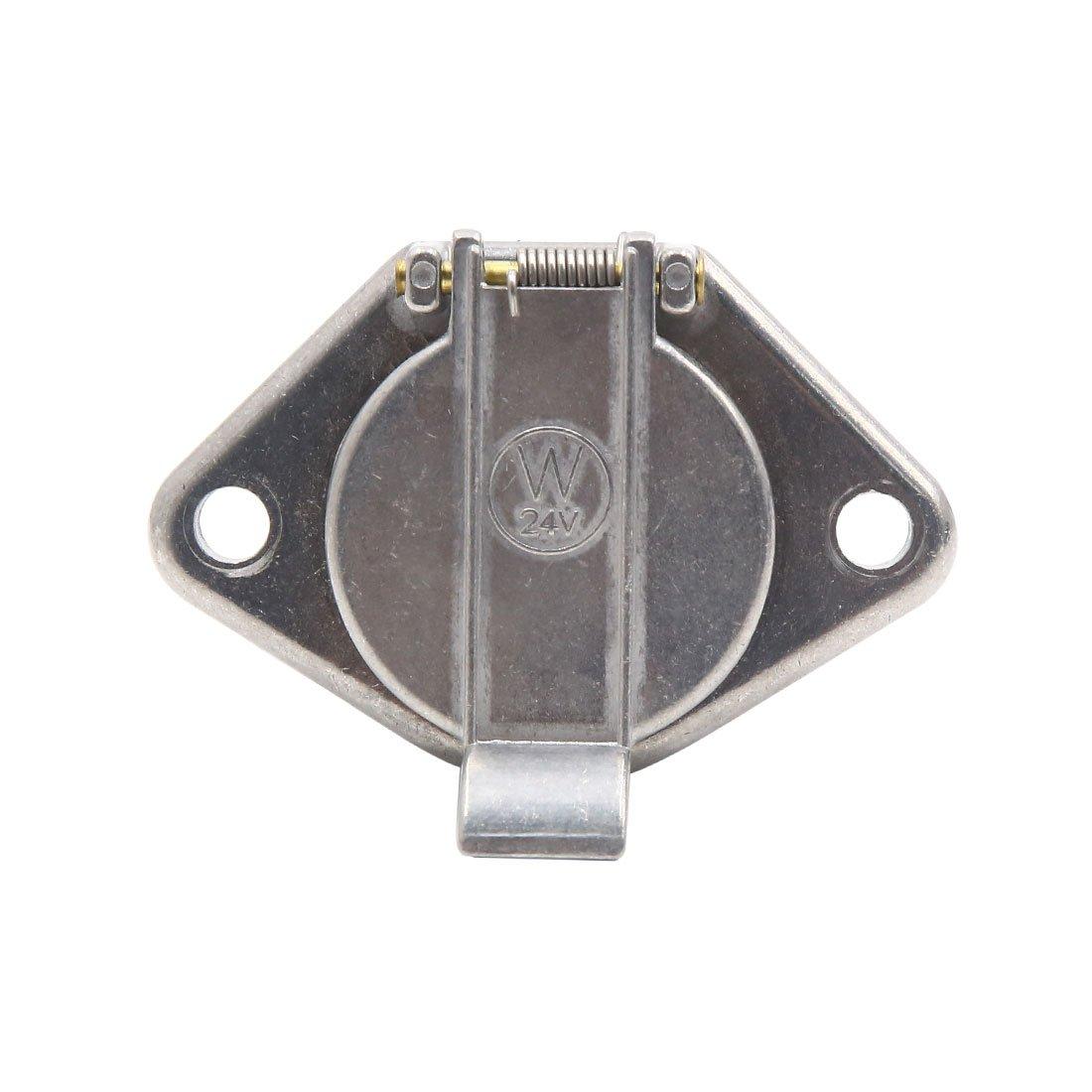 uxcell 7 Pin Aluminum Alloy Euro Socket Car Trailer Towing Bar Siganl Light Adapter 24V