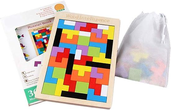 Rompecabezas De Madera Tetris Enigmas Juguete Del Rompecabezas Chino Jigsaw Inteligencia Colorido 3D Rusos Bloques Juego Regalo Educativo Para Bebés Y Niños (Cuadro De Color Y Bolsa De Almacenamiento): Amazon.es: Juguetes y