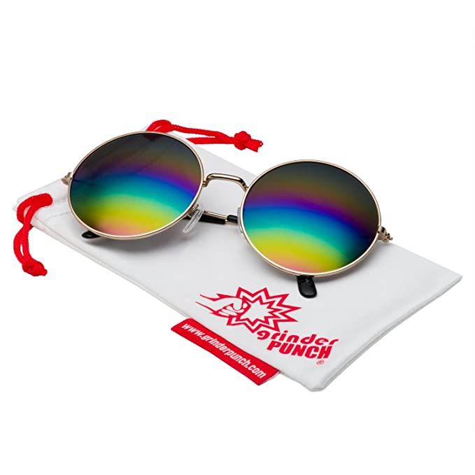 grinderPUNCH Oversized Large Round Sunglasses for Women Rainbow Mirrored