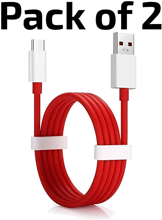 MUVONIC Type C Dash Charging USB Data Cable for OnePlus Devices  Pack of 2