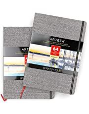 Arteza 8.3x11.7 Inch Watercolor Book, Pack of 2, 64 Pages per Pad, 110lb/230 GSM, Linen Bound with Bookmark Ribbon and Elastic Strap, Art Supplies for Watercolor Techniques and Mixed Media