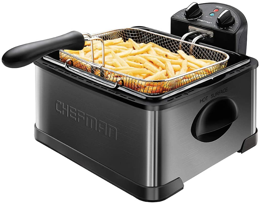 Chefman Deep Fryer with Basket Strainer, 4.5 Liter XL Jumbo Size Adjustable Temperature & Timer, Perfect Chicken, Shrimp, French Fries, Chips & More, Removable Oil Container, Black