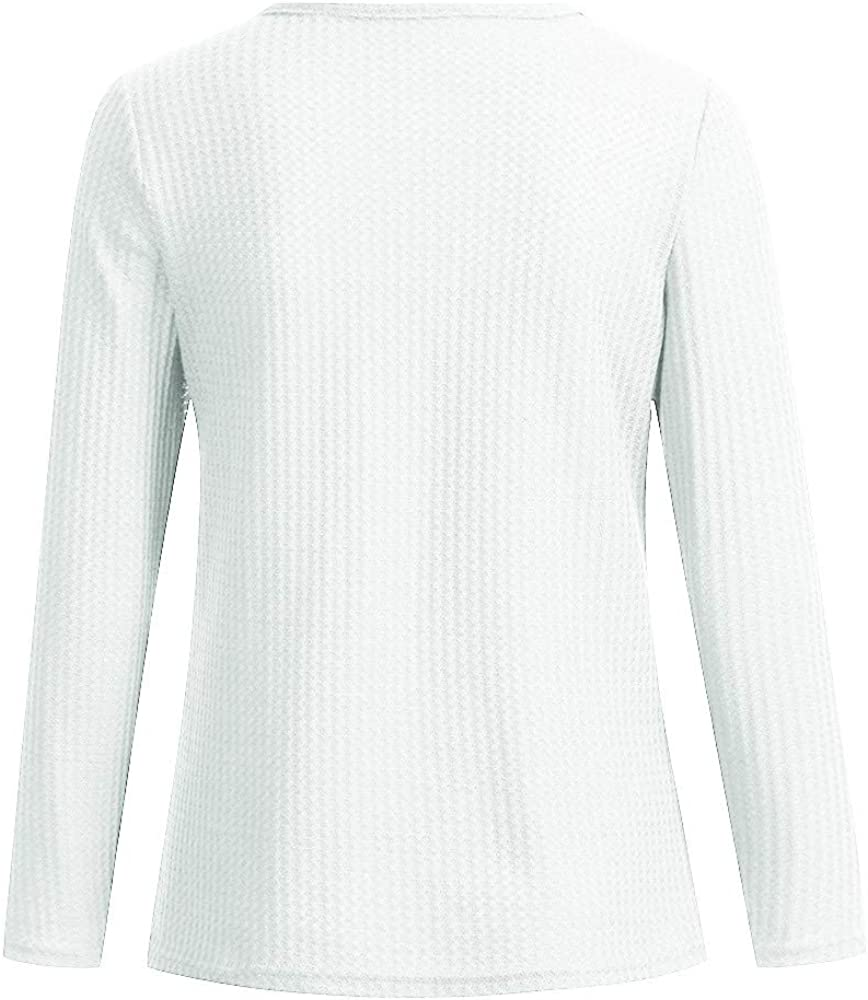 Womens Waffle Knit Tunic Tops Split Neck Loose Long Sleeve Casual Henley Shirts Basic Soft Plain T-Shirt Tops