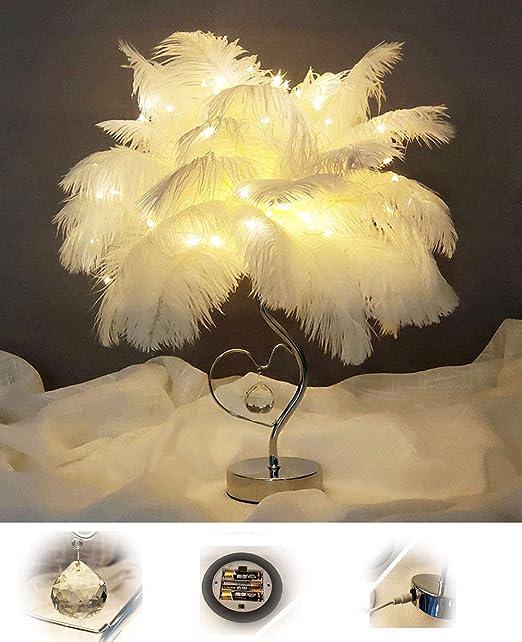 Lámpara de Mesa De Plumas Lámpara De Noche Material Blando + ...