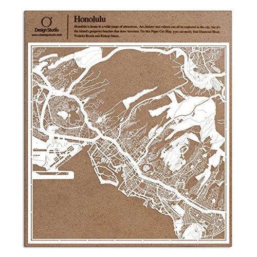 Honolulu Paper Cut Map by O3 Design Studio White 12×12 inches Paper Art -