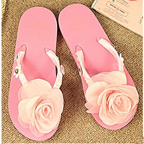 KAKA(TM Women's Fashion Pink Rose Flower Rhinestone Glitter Studded Crystal Thong Sandals Flip Flops Flat Shoes Sandals(37-38)