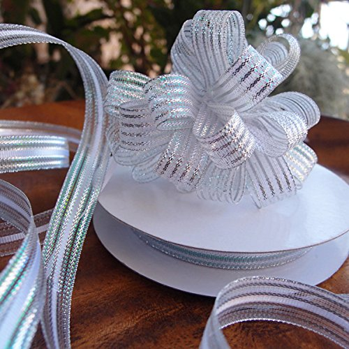 Iridescent Corsage Ribbon Pull Bow, 25 Yards, 5/8-inch (Silver)