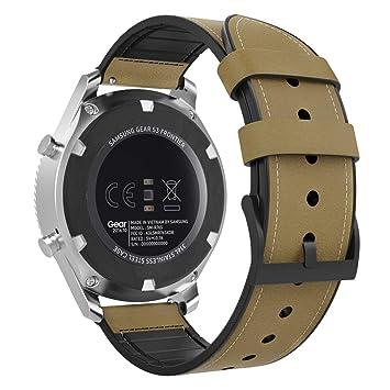 MoKo Compatible con Gear S3/Gear S3 Classic/S3 Frontier/Galaxy Watch 46mm/Huawei Watch GT 46mm Reloj Correa, Pulsera de Cuero Genuino con Conectores ...