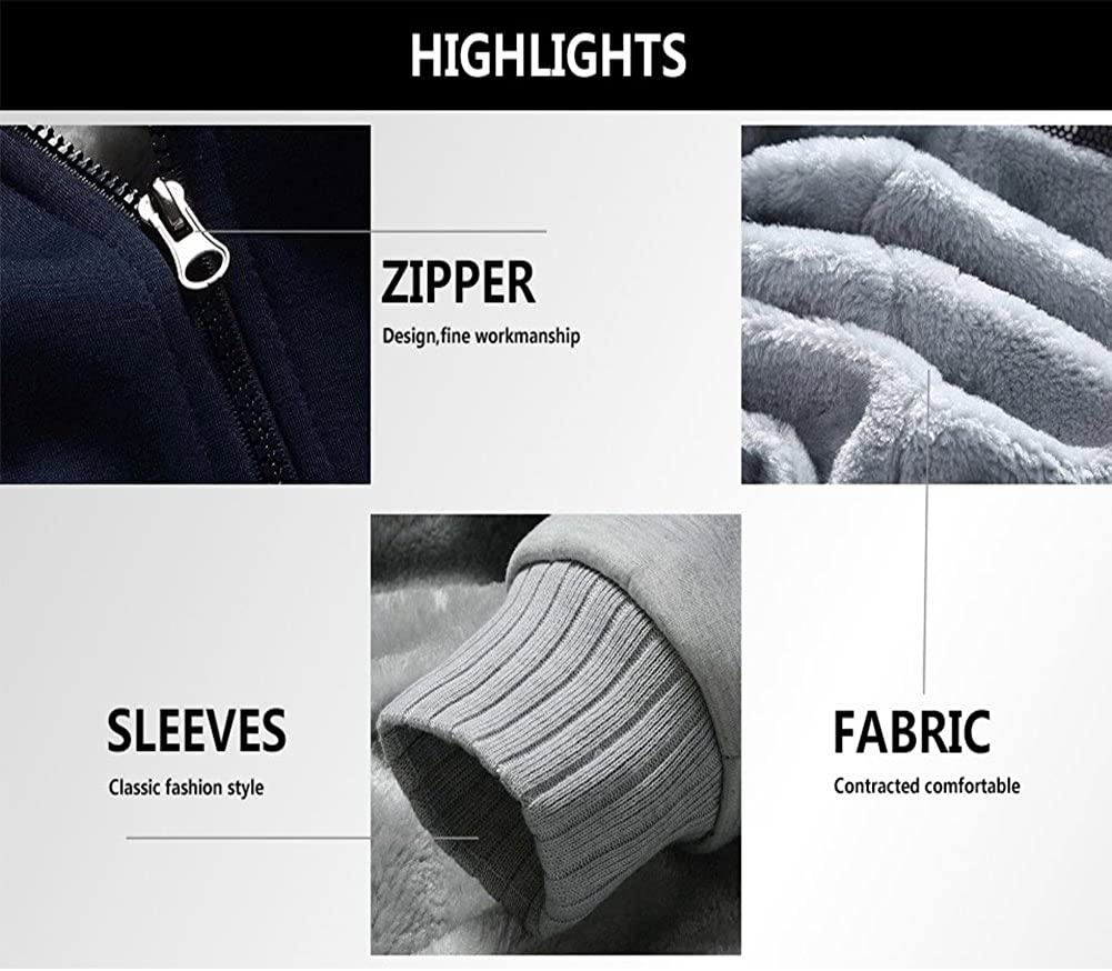 MACHLAB Mens Pullover Winter Workout Fleece Hoodie Jackets Full Zip Wool Warm Thick Coats