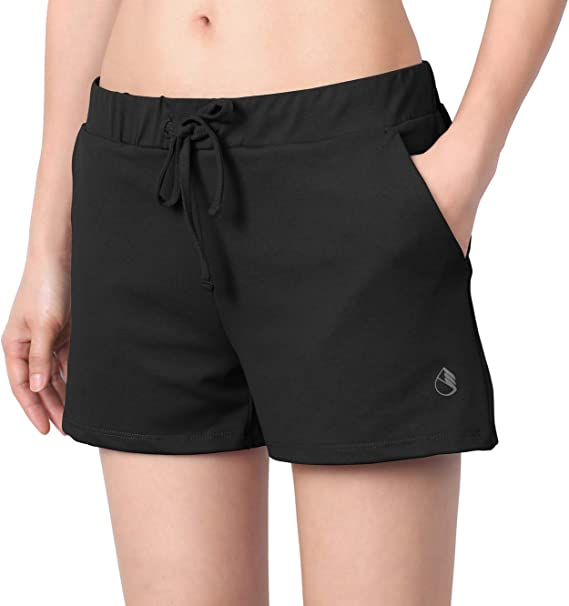 icyzone Running Workout Shorts for Women - Gym Yoga Exercise Athletic Shorts with Pockets