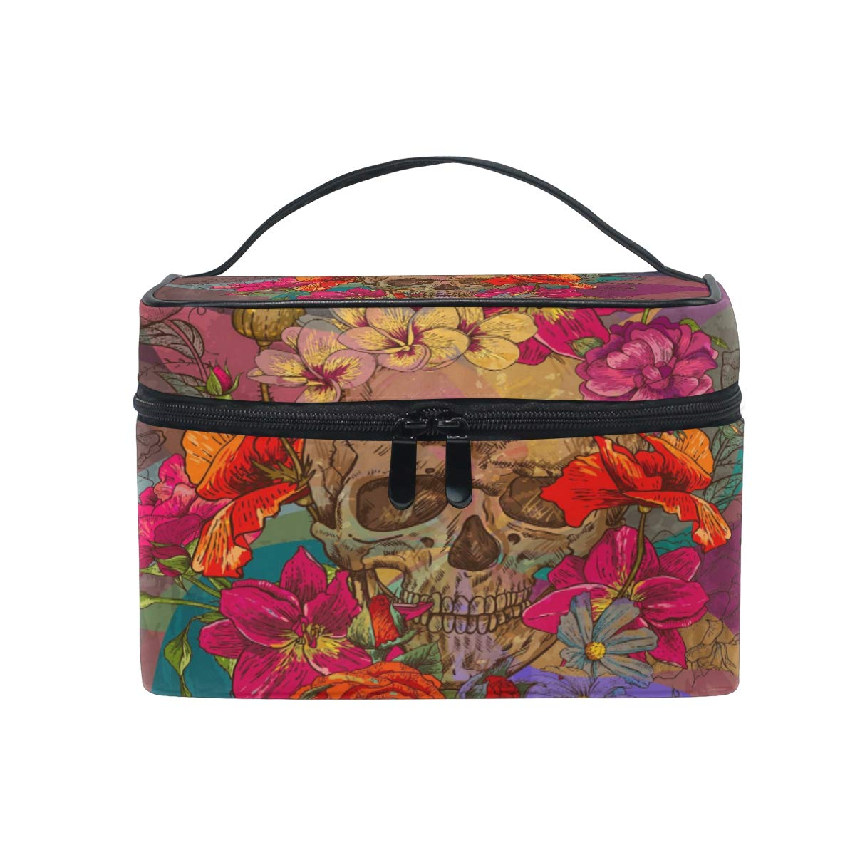Travel Cosmetic Bag Skull Flower Toiletry Makeup Bag Pouch Tote Case Organizer Storage For Women Girls